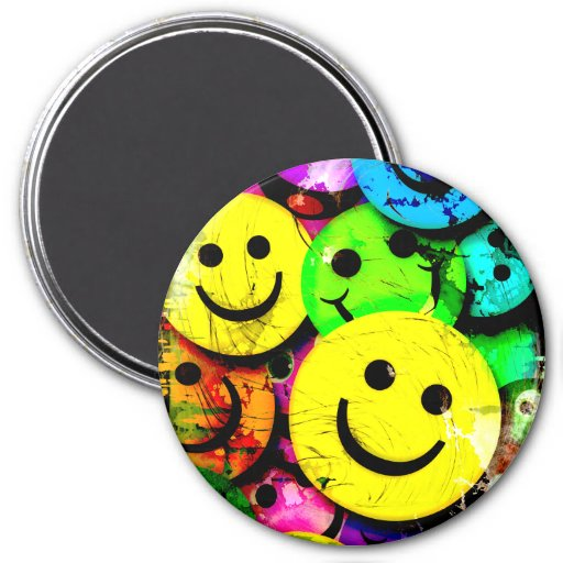 Le smiley abstrait sale fait face au collage magnets pour réfrigérateur