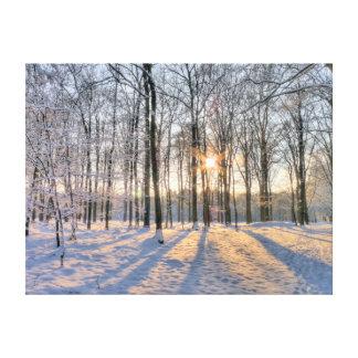 Le soleil d'hiver dans la forêt neigeuse impressions sur toile