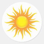 Le soleil flamboyant autocollants ronds