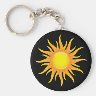 Le soleil flamboyant sur un porte - clé noir porte-clé rond