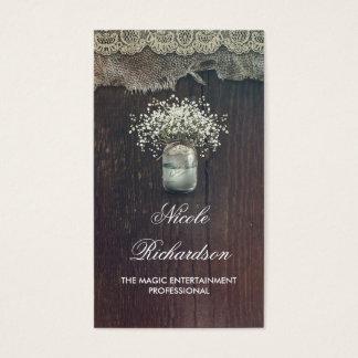 Le souffle de maçon du bébé rustique de pot et le cartes de visite