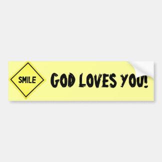 Le sourire, Dieu vous aime classiques Autocollant De Voiture