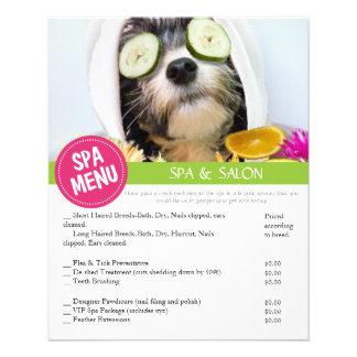 Le spa de toilettage de chien entretient le menu prospectus 11,4 cm x 14,2 cm