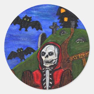 Le squelette de faucheuse manie la batte le sticker rond