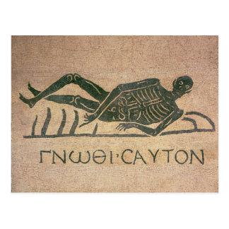 Le squelette étendu avec la légende 'savent carte postale