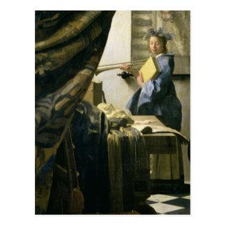 Le studio de l'artiste, c.1665-6 carte postale