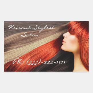 Le styliste de coupe de cheveux a coloré le long sticker rectangulaire