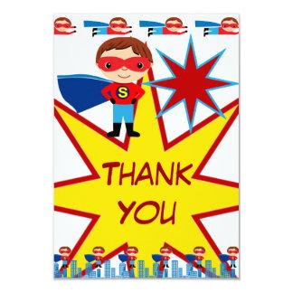 Le super héros badine des cartes de Merci de fête Carton D'invitation 8,89 Cm X 12,70 Cm