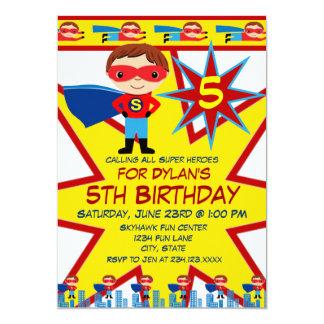 Le super héros badine des invitations de fête carton d'invitation  12,7 cm x 17,78 cm