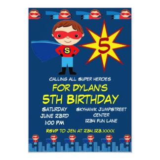 Le super héros badine le bleu d'invitation de fête carton d'invitation  12,7 cm x 17,78 cm