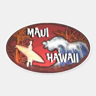 Le surfer blanc de Maui Hawaï ondule des Sticker Ovale