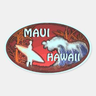Le surfer turquoise de Maui Hawaï ondule des Sticker Ovale
