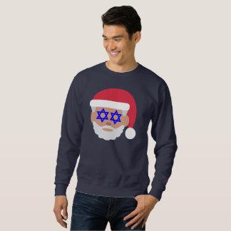 le sweatshirt des hommes d'emoji du père noël de