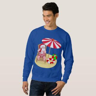 le sweatshirt des hommes du père noël de plage de
