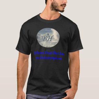 Le T-Logo et le texte bleu de ciel des hommes T-shirt