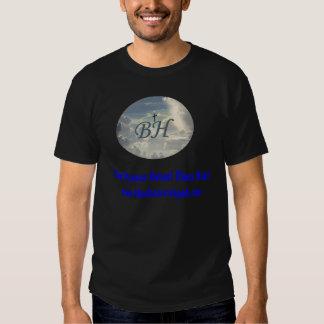 Le T-Logo et le texte bleu de ciel des hommes T-shirts