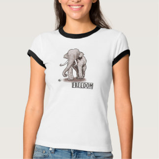 Le T-shirt bordé des femmes d'éléphant de