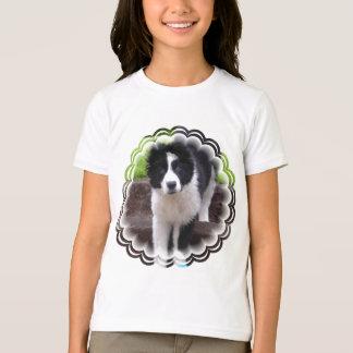 Le T-shirt de la fille de chiot de border collie