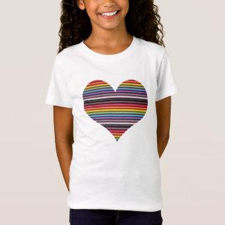Le T-shirt de la fille de coeur de câble plat