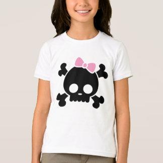 Le T-shirt de la fille noire mignonne de crâne