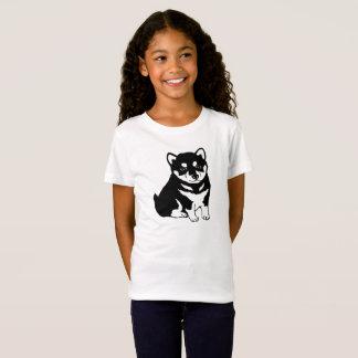 Le T-shirt de Shiba Inu de chiot de la fille