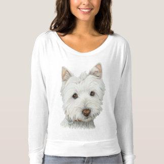 Le T-shirt de Westie de chien de la femme mignonne