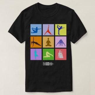 Le T-shirt des 9 de yoga hommes colorés de poses