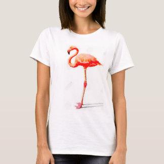 Le T-shirt des femmes : Aquarelle rose de flamant