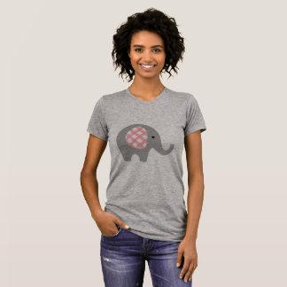 Le T-shirt des femmes avec éléphant gris/rose