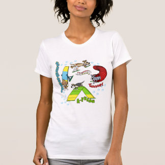 Le T-shirt des femmes d'agilité de chien de bande