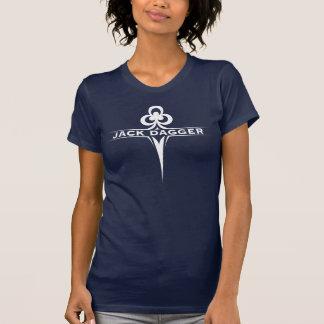 Le T-shirt des femmes de bleu marine de feuille de