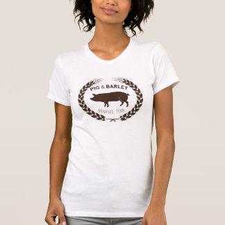 Le T-shirt des femmes de porc et d'orge - logo de
