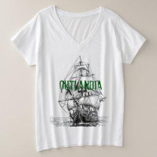 Le T-shirt des femmes de V-cou d'Outlandia Voyager
