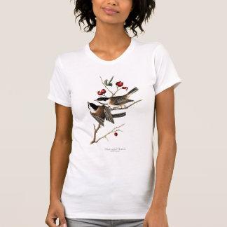 Le T-shirt des femmes Noir-couvertes de Chickadee