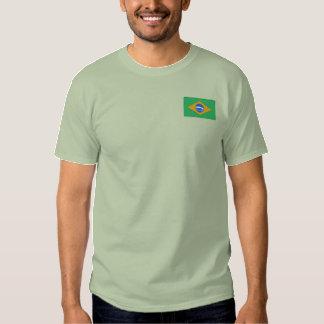 Le T-shirt des hommes brodés par drapeau du Brésil