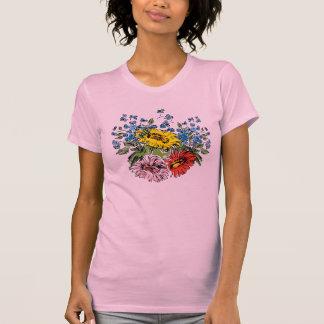 Le T-shirt des jolies de fleurs sauvages femmes de