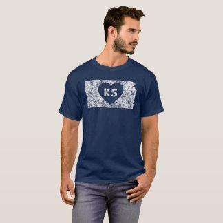 Le T-shirt foncé de base d'I d'amour du Kansas des