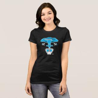 Le T-shirt noir de la femme de souffle d'atome de