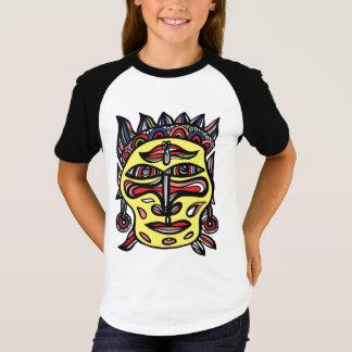 """Le T-shirt raglan des filles """"de masque primitif"""""""
