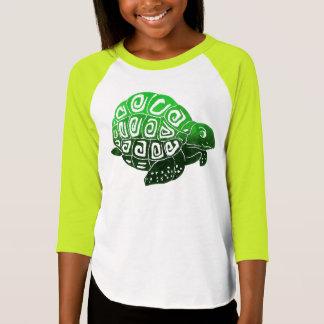 Le T-shirt raglan des filles de tortue verte