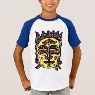 "Le T-shirt raglan des garçons ""de masque primitif"""
