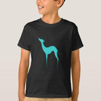 Le T-shirts des enfants bleus de silhouette de