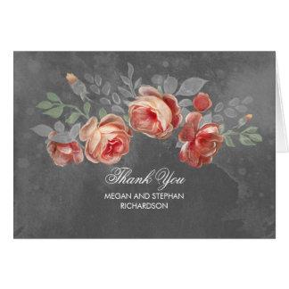 Le tableau fleurit le Merci rustique de mariage Cartes De Vœux
