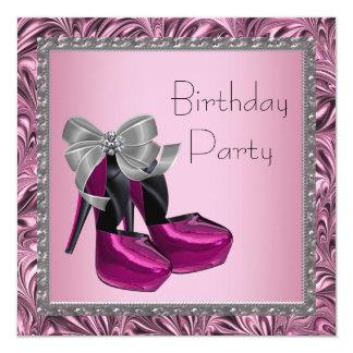 Le talon haut chausse la fête d'anniversaire noire carton d'invitation  13,33 cm