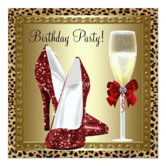 Le talon haut rouge de cocktails chausse carton d'invitation  13,33 cm