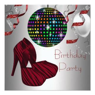 Le talon haut rouge de zèbre chausse la fête carton d'invitation  13,33 cm