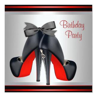 Le talon haut rouge noir chausse la fête carton d'invitation  13,33 cm