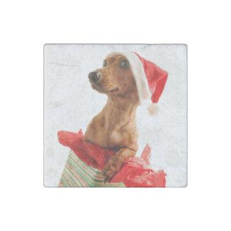 Le teckel père Noël - le chien de père Noël - Magnet En Pierre