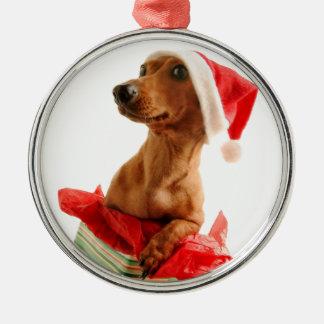 Le teckel père Noël - le chien de père Noël - Ornement Rond Argenté