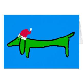 Le teckel pour Noël Carte De Vœux